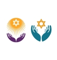 Hands holding Star of David Icon or symbol vector image vector image