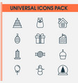 happy icons set with cupcake tree ball candle vector image vector image