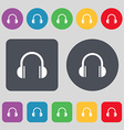 headphones icon sign A set of 12 colored buttons vector image