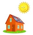 House with solar panels and the sun cartoon