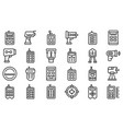 laser meter icons set outline style vector image vector image