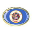 minnesota state flag oval button vector image vector image