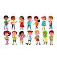 multicultural characters children kids set vector image