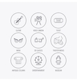 Museum guitar music and theater masks icons vector image vector image
