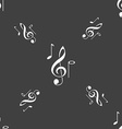 musical notes icon sign Seamless pattern on a gray vector image