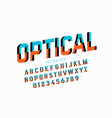 optical illision style font vector image vector image