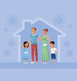 parents couple with daughter and son stay at home vector image vector image