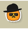 Pumpkin hipster in sunglasses and bowler hat vector image vector image
