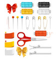 realistic 3d sewing tools accessories set vector image