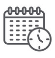 schedule line icon organizer and time calendar vector image vector image