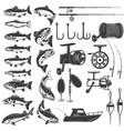 set fishing icons fish icons fishing rods vector image
