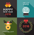 Set of Flat Design Christmas and New Year vector image