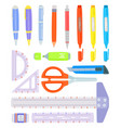 set of school supplies stationery accessories on vector image