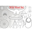 wild west set vector image vector image