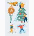 winter people set vector image vector image