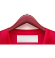 wooden clothes hangers with red clothes and empty vector image vector image