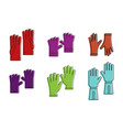 workgloves icon set color outline style vector image vector image