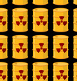 Yellow barrels of radioactive substance seamless vector image