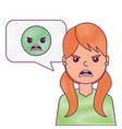 young woman with angry emoticon in speech bubble vector image