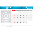 Year 2017 August month simple and clear design vector image