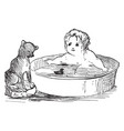baby and dog are swimming in this picture vintage