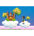 A boy and a castle above the clouds vector image vector image