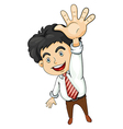 A businessman waving vector image vector image