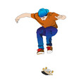 a young man while training with his skateboard tab vector image vector image