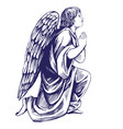 angel prays on his knees religious symbol of vector image vector image