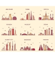 Arabian peninsula skylines line art style vector image vector image