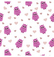 beautiful seamless pattern with a pink owl animal vector image vector image