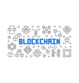 blockchain technology outline banner vector image vector image