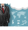 businessman with a map and financial icons vector image vector image