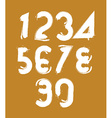 Calligraphic brush numbers hand-painted white vector image vector image