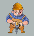 cartoon happy man in helmet and working vector image
