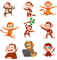 cartoon happy monkeys collection set vector image vector image
