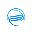 circle waves water in blue color logo template vector image vector image
