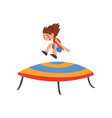 cute happy girl jumping on trampoline smiling vector image vector image