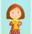 cute little girl holding hamster vector image