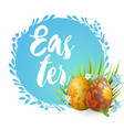 easter eggs and blue spring flowers vector image