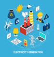 electricity isometric and round composition vector image vector image