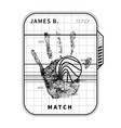 fingerprint scan with detailed human palm simple vector image vector image