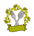 fork and spoon kitchen tools with leaves and vector image vector image