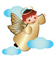 gold angel with clouds icon logo vector image