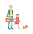 Grandfather And Granddaughter Walking The Dog vector image vector image