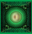 greek 3d square panel pattern floral green vector image
