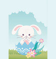happy easter day cute rabbit in eggshell flowers vector image