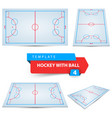 hockey with ball four items template vector image vector image