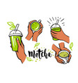matcha tea set in female hands vector image vector image