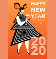 new year greeting card with girl in a mouse mask vector image